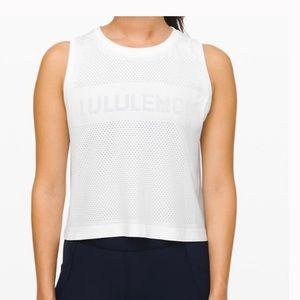 Lululemon White Breeze Muscle Crop Tank